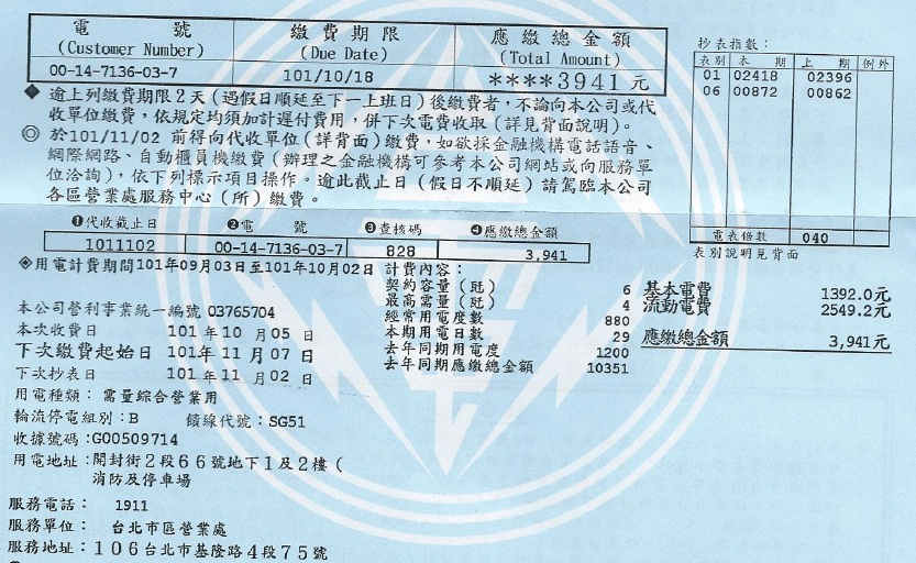 2012年10月地下室電費
