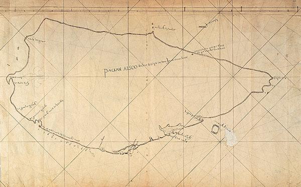 西元1625年荷蘭人所繪製的台灣全島圖