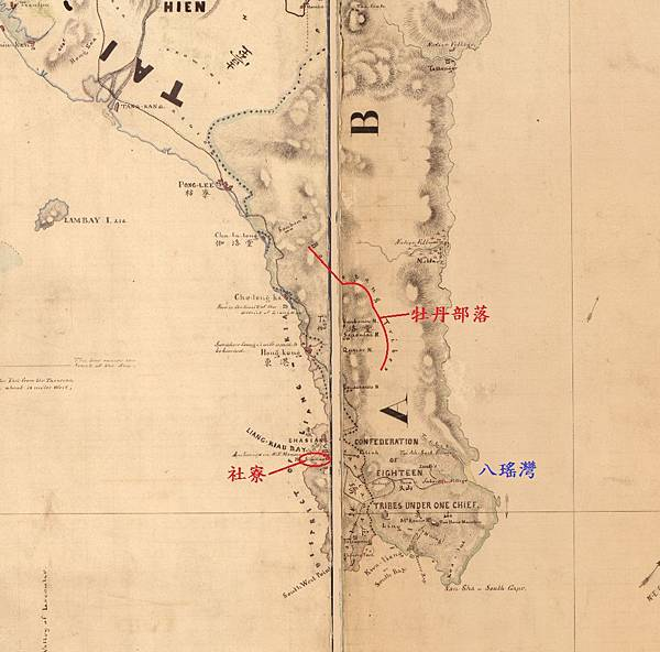 西元1870年,由美國人Le Gendre所繪製的《Formosa Island and The Pescadores》局部