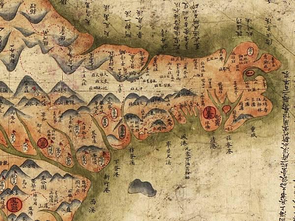 西元1879年,李蓮琨繪製的《臺灣前後山全圖》局部