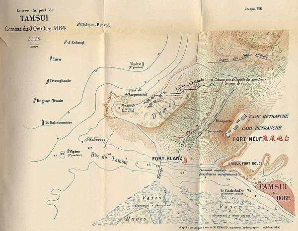 西元1884年,法軍所繪製的淡水戰場地圖