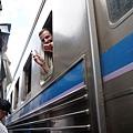 火車上的外國觀光客