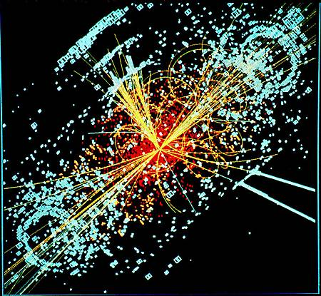 電腦模擬繪製的希格斯玻色子出現事件