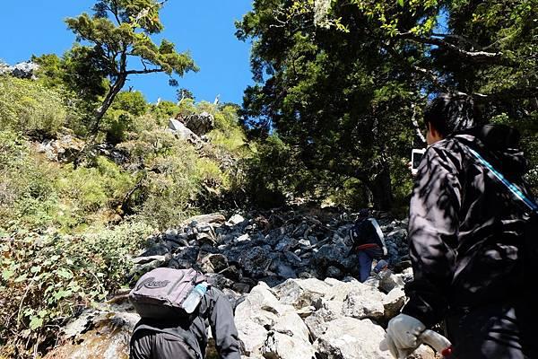 巨大亂石堆疊整面山坡