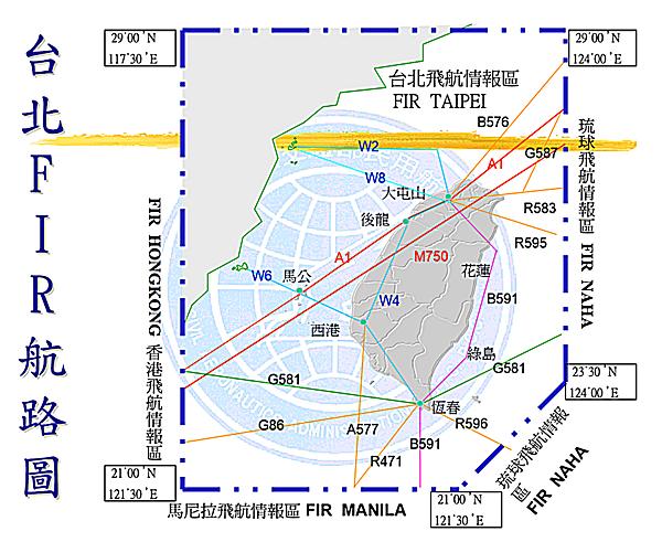 台北FIR航路圖