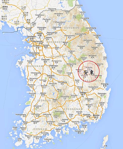 韓國安東Map