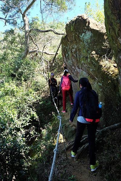山徑裸露巨石岩層