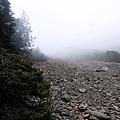雲霧中的碎石坡