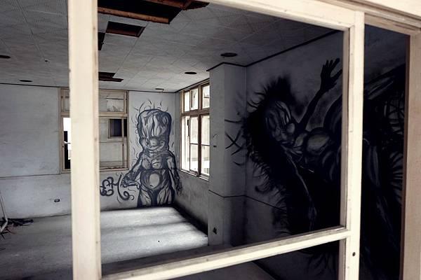 杏林醫院牆上塗鴉