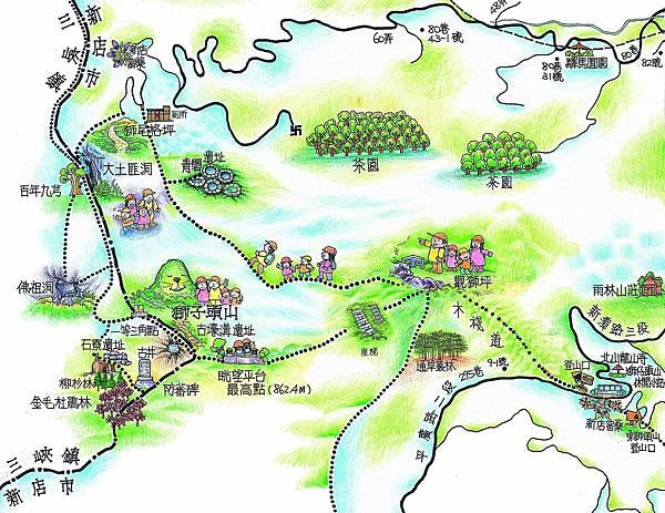 獅仔頭山隘勇線步道Map(新店區公所製)