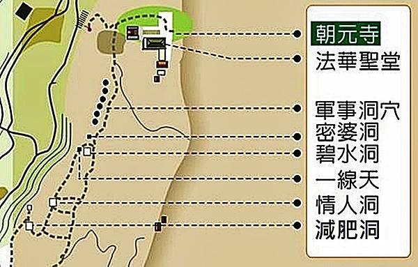 大崗山情人洞、減肥洞Map