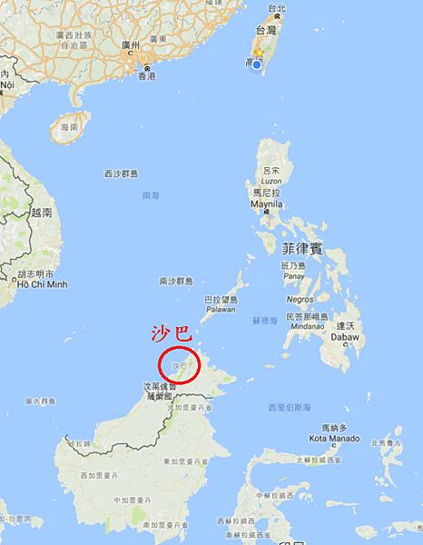沙巴與台灣和東南亞相對地理位置Map