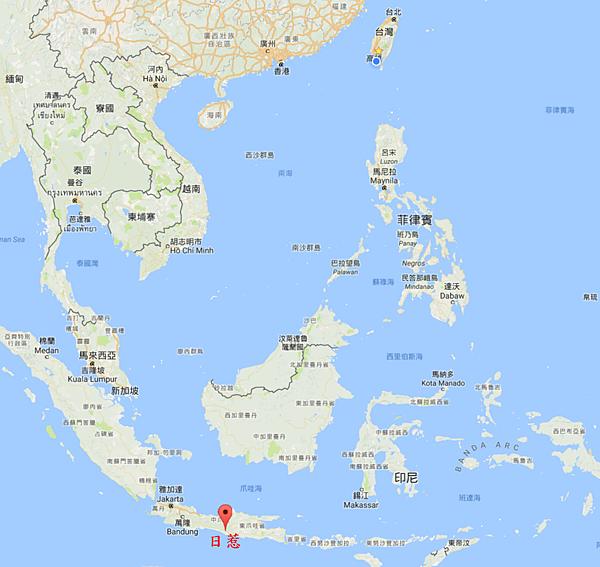 日惹與台灣和東南亞相對地理位置Map