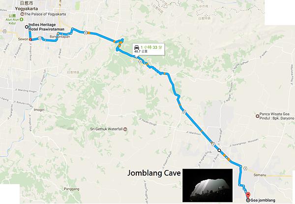 日惹市區→Jomblang Cave Map