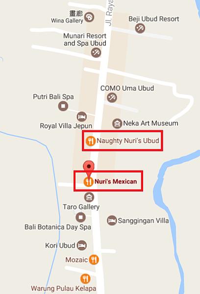 烏布Nuri's Mexican Bar & Grill與Naughty Nuri's Warung相對位置