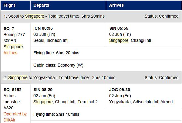 仁川→新加坡→日惹