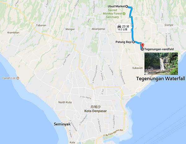 烏布前往Tegenungan瀑布Map