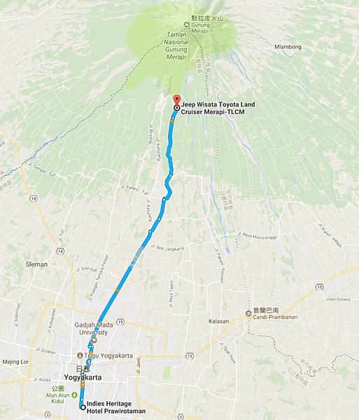 日惹市區-默拉皮火山Map