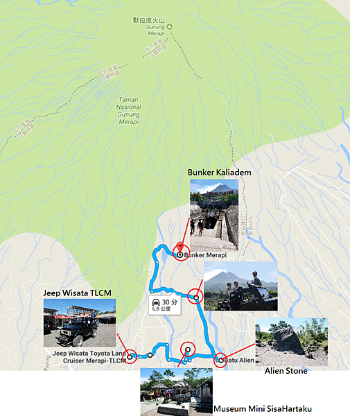 Merapi Jeep Tour Short Map