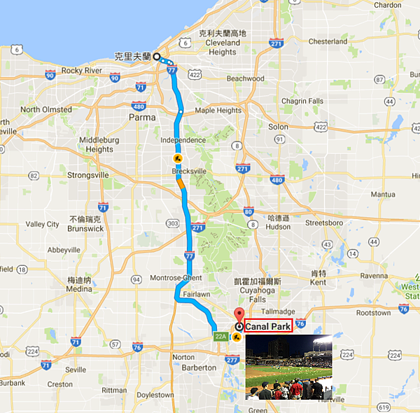 Cleveland-Akron旅行Map