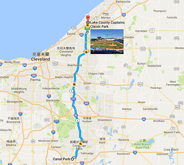 Akron-Cleveland-Willowick旅行Map
