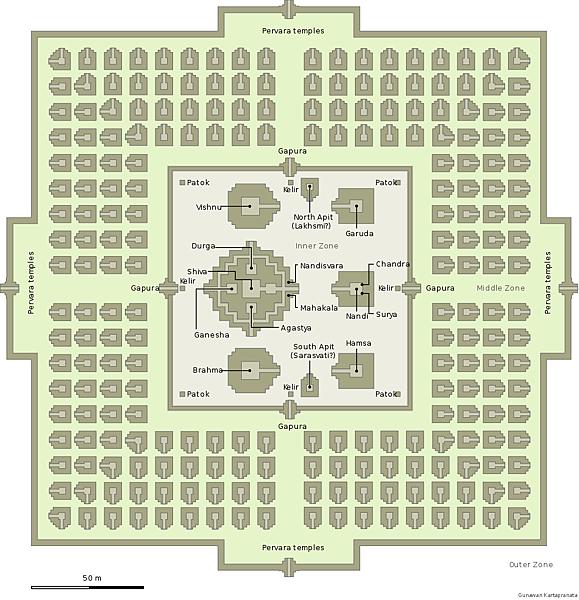 普蘭巴南寺廟群結構地圖