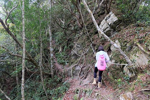 遇拉繩攀岩路段