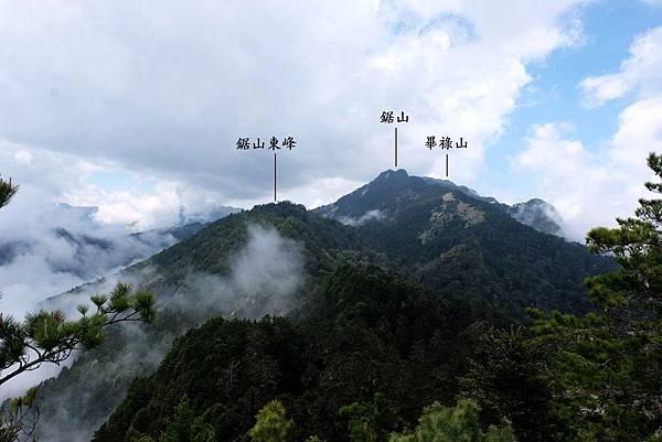 羊頭山往西眺望踞山山脈連峰