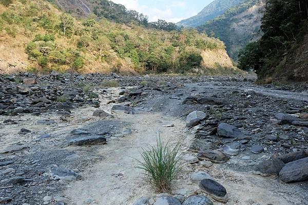 乾河床因溫泉水碳酸鈣沉積變色