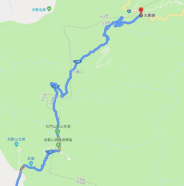 合歡山至大禹嶺Map