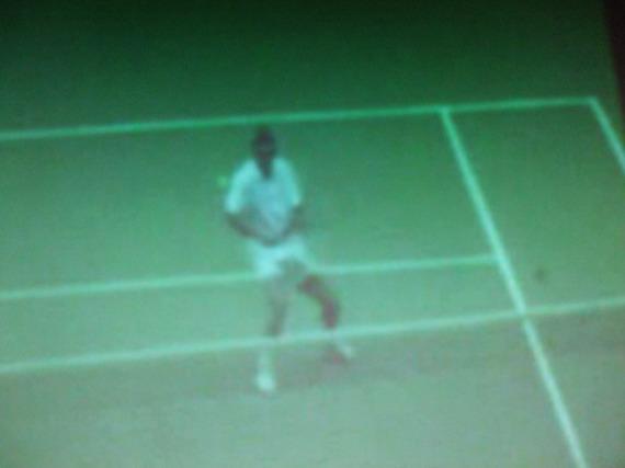 慢速定格鏡頭 ~ 網球和鳥兒改變方向分別落地