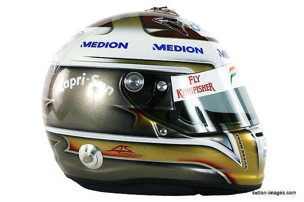 The helmet of Adrian Sutil (GER) Force India F1.jpg