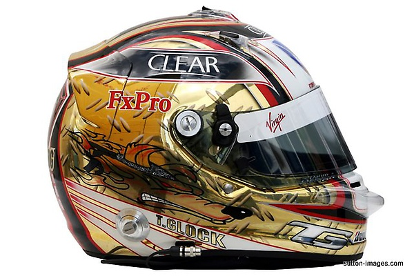 The helmet of Timo Glock (GER) Virgin Racing.jpg