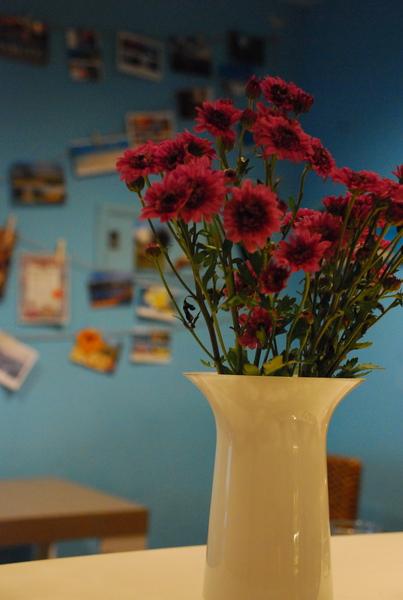 美麗的花瓶插上我最愛的紫色小雛菊,水的ㄌㄟ~~