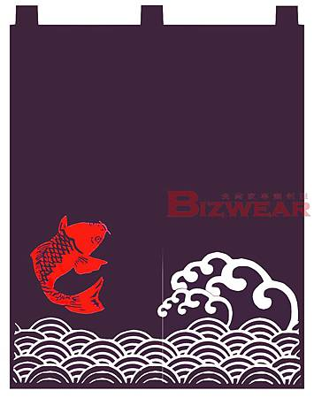 2片 寬90高110 日式海浪加紅魚