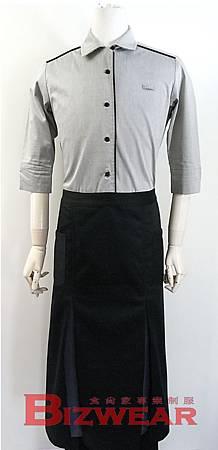 開叉配色長圍裙2