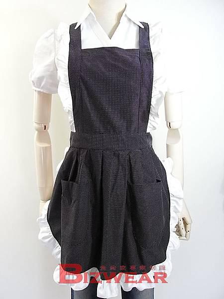黑底白邊女僕全身荷葉邊圍裙 (1)