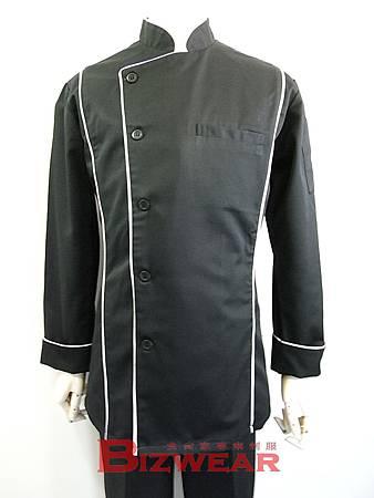 黑色合身三線廚師服
