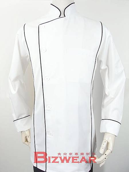 白色合身三線廚師服1