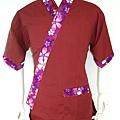 棗紅底紫色大櫻花領
