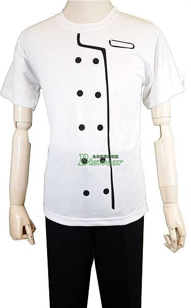 遠東排汗T印刷白色廚師服黑釦