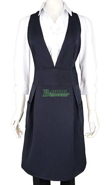 藍條子大V領洋裝圍裙