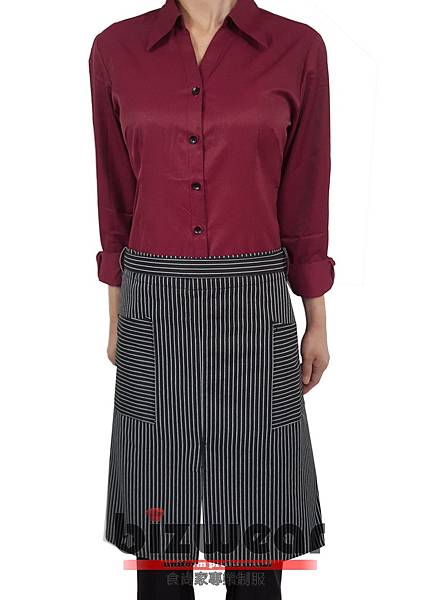 黑白條紋開叉半身圍裙2.jpg