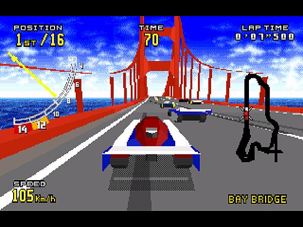 M(1994.12.16 發售的 32X 版 Virtua Racing DELUXE,新增了車型與賽道。)