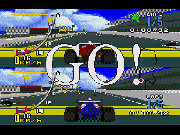 C(兩人同樂的全螢幕的多邊形場景,畫面也不遲滯。)