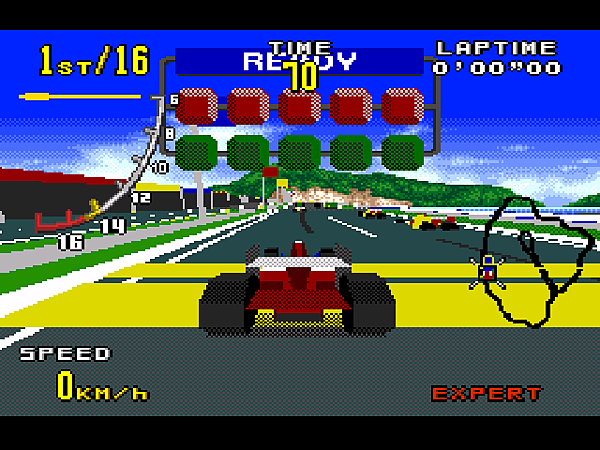 F(VR2 為一般的車後視點。大部分的賽車遊戲都是使用這個視點。)