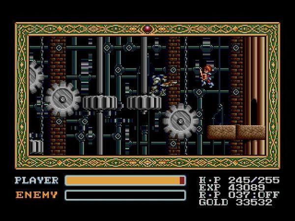 G(在《伊蘇 3》的橫向捲軸畫面玩法中,跳躍是玩者最需要熟習的課題。這場景是要 Adol 不斷跳上一個又一個的齒輪前進。).png