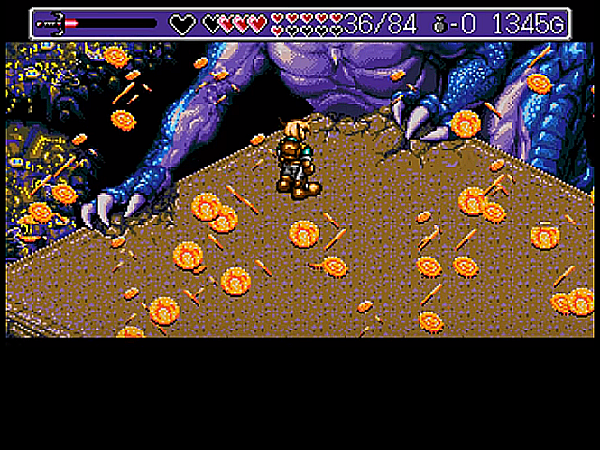 R(打敗了怪龍之後,所有的財寶也跟著陷落於深谷。主角只得到一枚。繁華攏係夢啊...。)