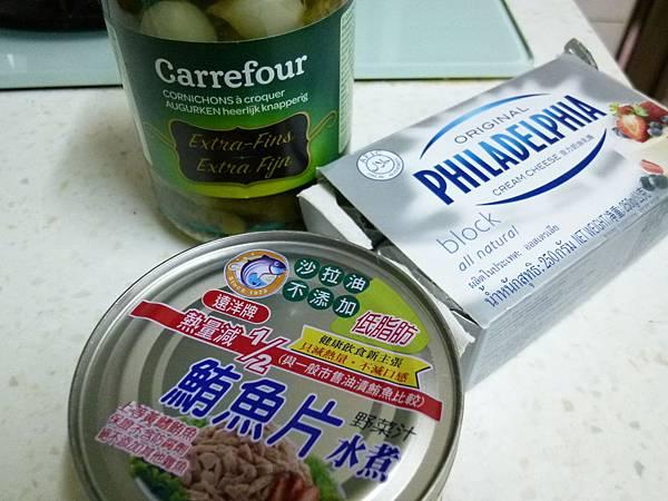 鮪魚酸黃瓜抹醬材料