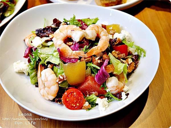 台中早午餐Bistro88 Light新菜鮮蝦堅果酒燒蘋果沙拉